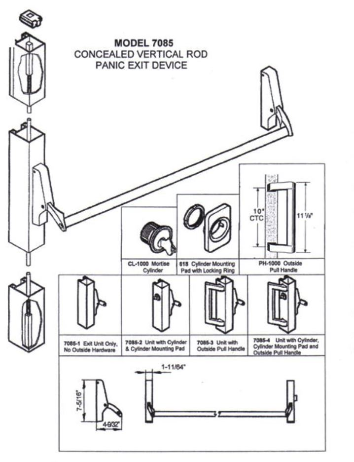 ca7085-3-48 concealed vertical rod panic exit device