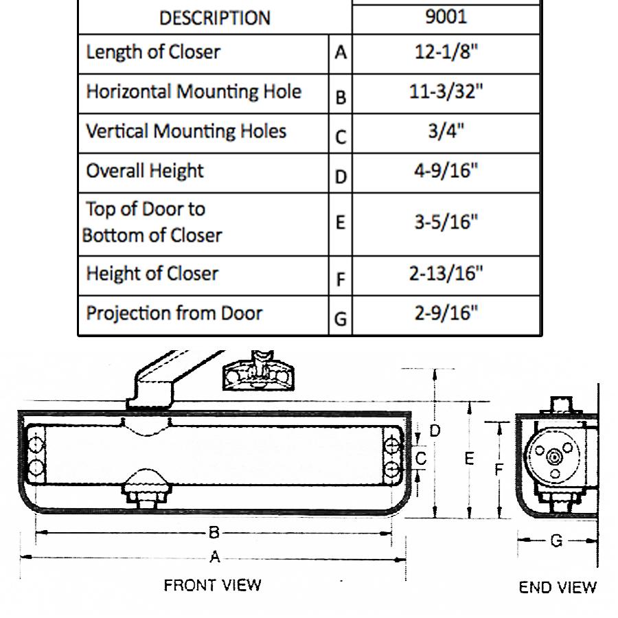 IDC International Door Closers ADA Adjustable Spring Power NEW 9001-TP