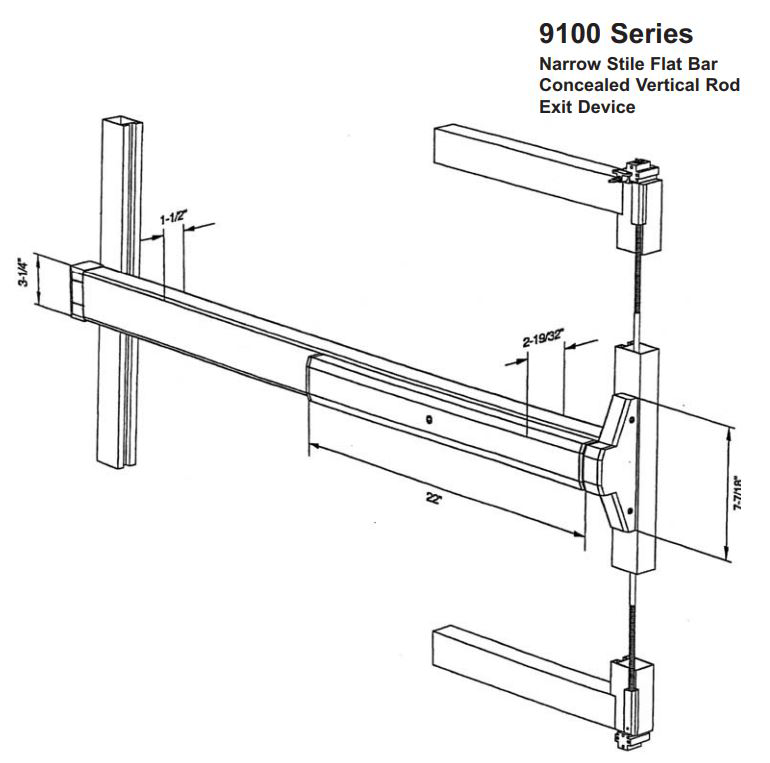9100 Series - Narrow Stile Flat Bar - Concealed Vertical Rod - Exit Device