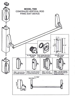 CA7085-3-48 Concealed Vertical Rod Panic Exit Device, - Unit with PH-1000E Outside Pull Handle